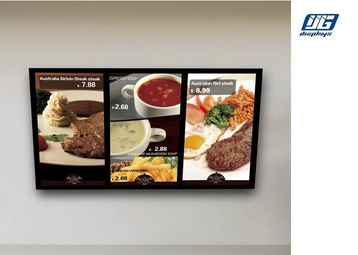 Wall Mounted Digital Advertising Display Screens High Resolution Menu Board