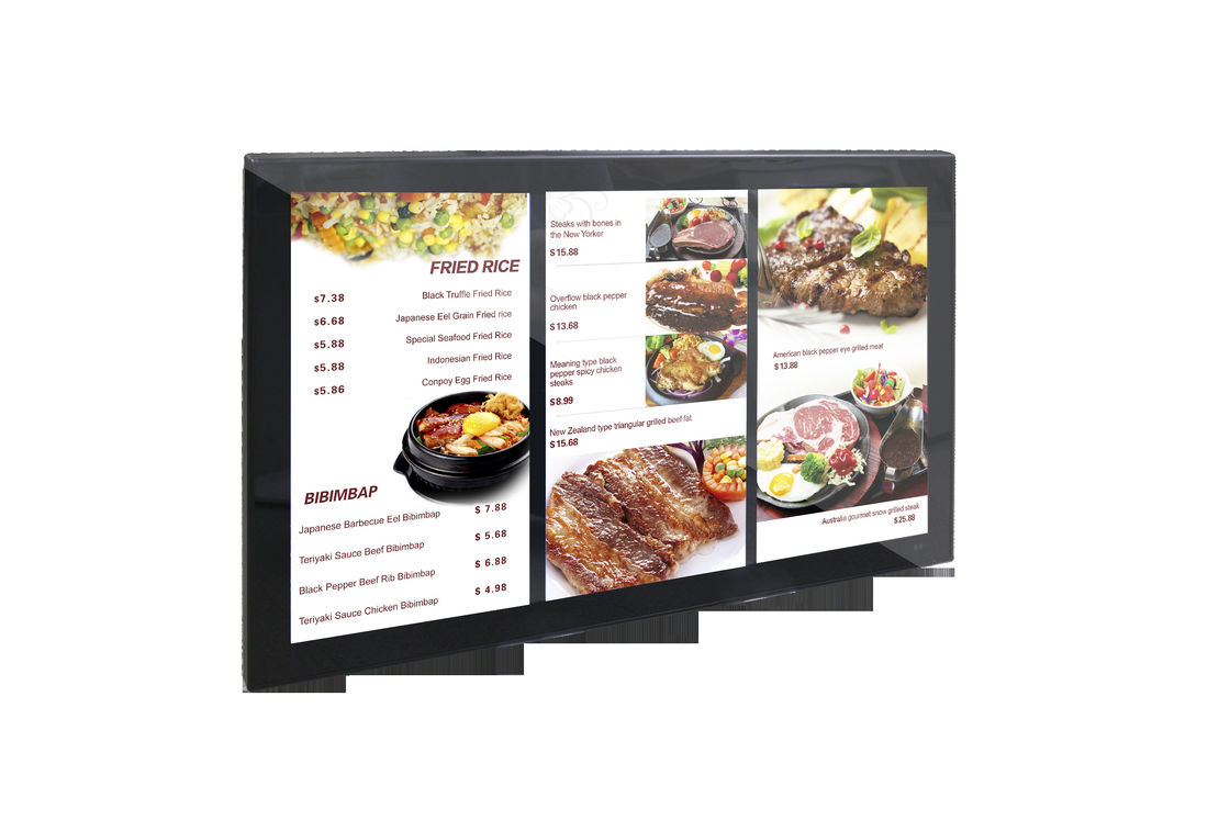 Wall Mounted LCD Menu Board Display / High Brightness  43''  Touch LCD Ccreen Digital Signage